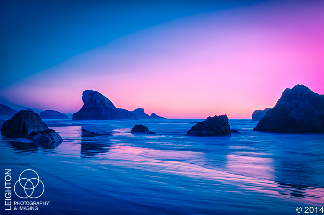 Oregon Sea Stacks in Fading Sunset