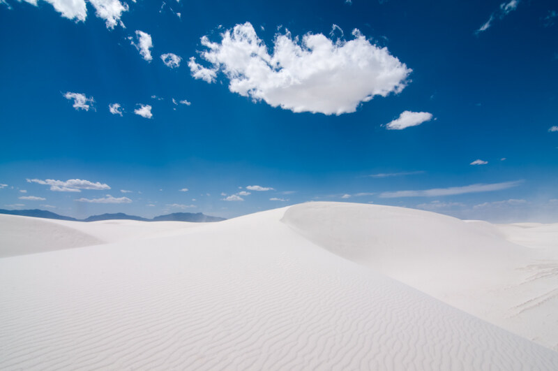 White Sands, White Dunes, White Clouds, Blue Sky