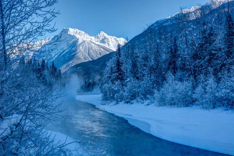 Canada in Winter: Illecillewaet River and the Mountains of Rogers Pass