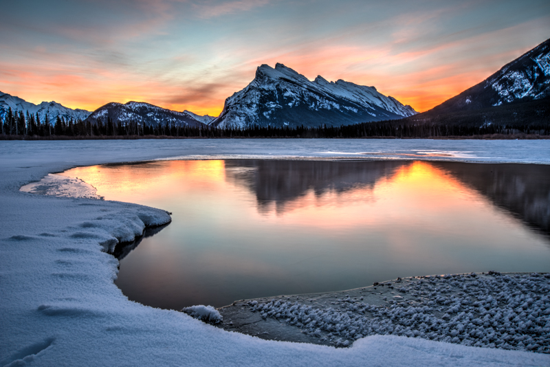 Reflections on Mount Rundle and Vermillion Lakes